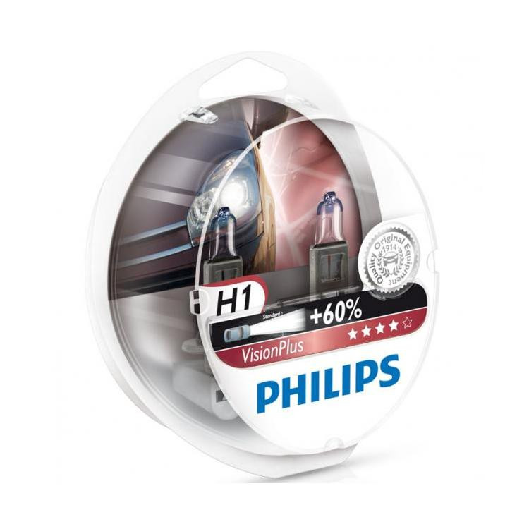 Автомобильные лампы Philips Vision Plus H1 +60%