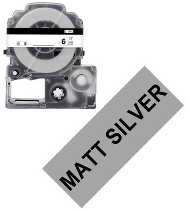Лента для принтера этикеток Epson LabelWorks LK2SBE Matte Blk/MattSiv 6/8, фото 2