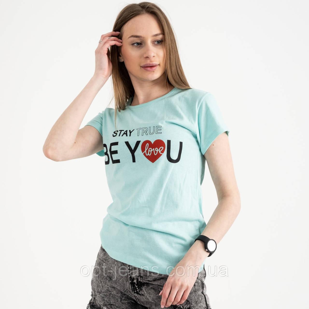 2502-4 Akkaya бирюзовая футболка женская с принтом стрейчевая (4 ед. размеры: S.M.L.XL)