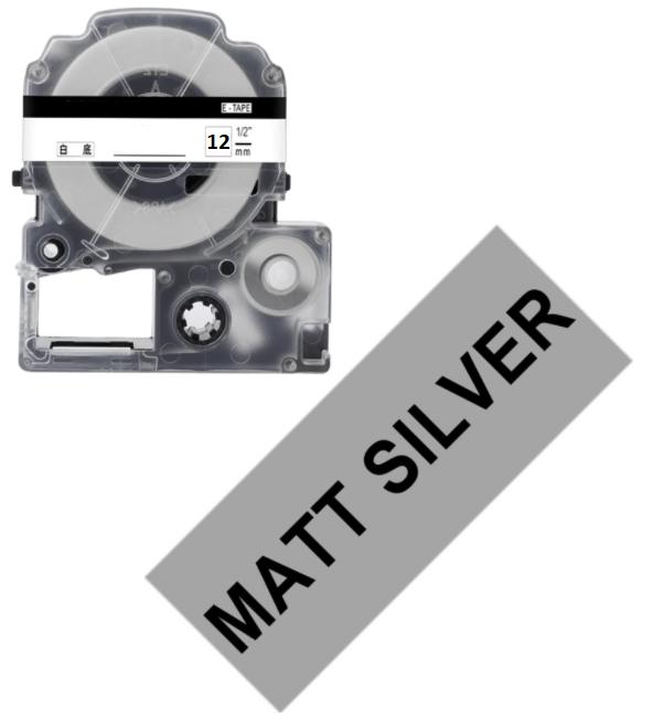 Лента для принтера этикеток Epson LabelWorks LK4SBE Matte Blk/MattSiv 12/8 (C53S654017)