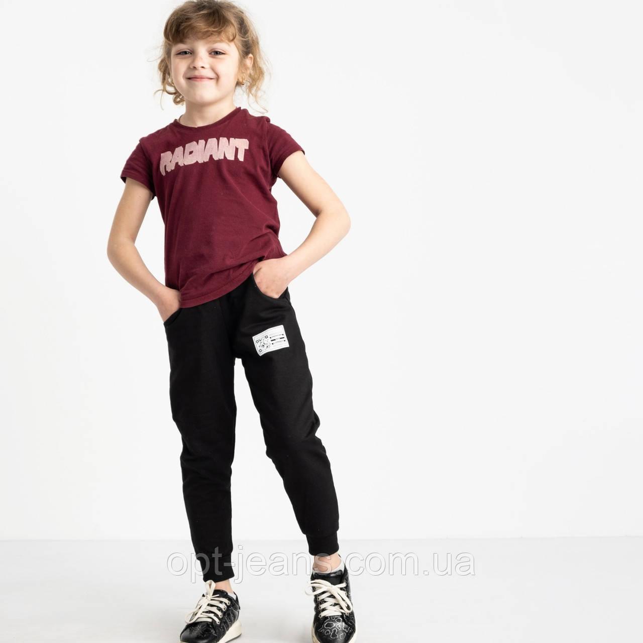 7585-1 черные спортивные брюки из двунитки на девочку 6-10 лет (5 ед. размеры: 28.30.32.34.36)