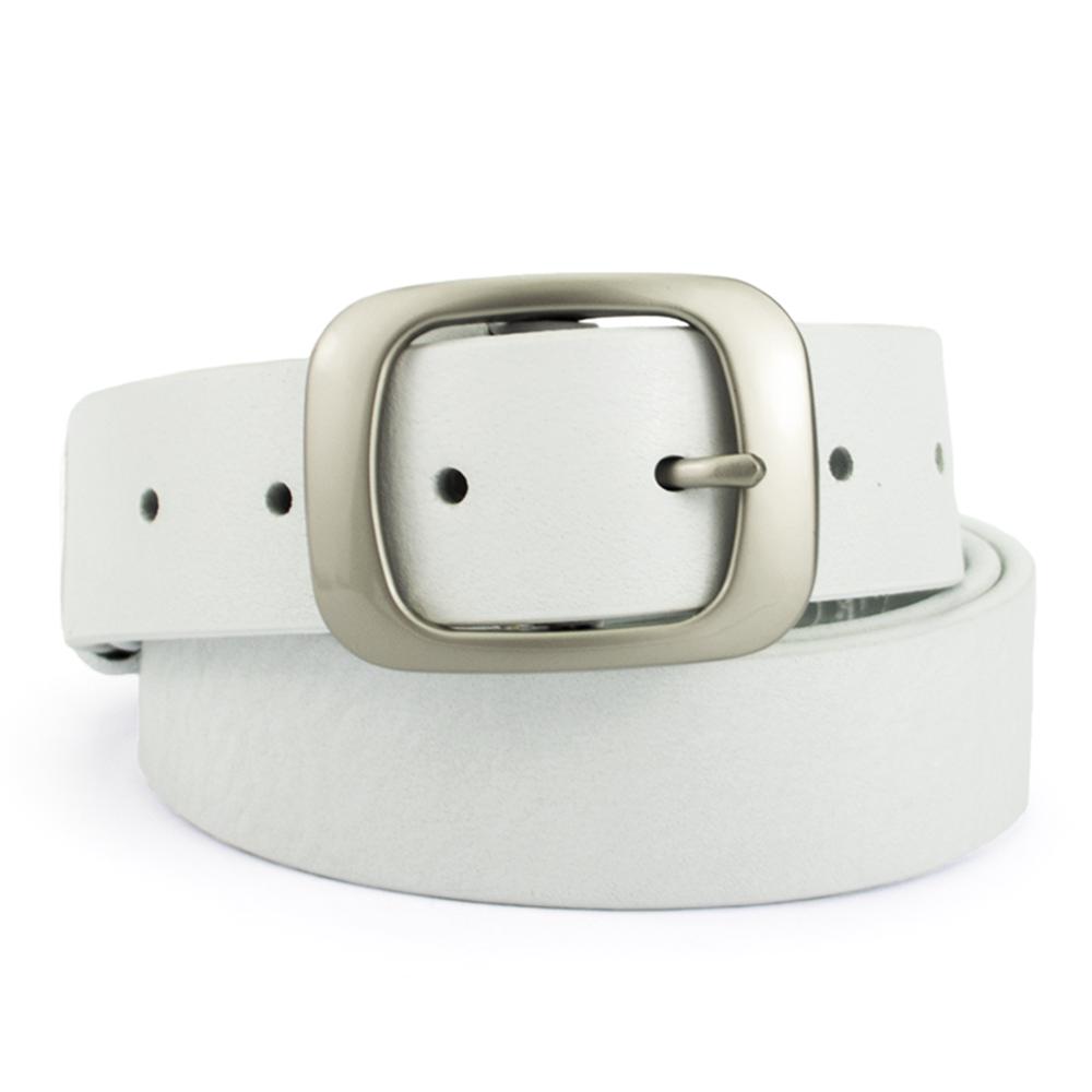 Ремень женский кожаный под джинсы белый  JK-3517 white (125 см)