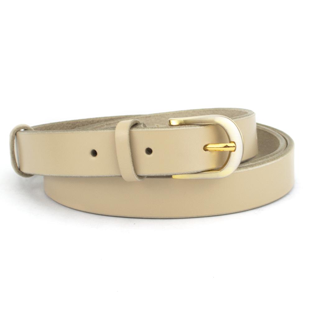 Женский кожаный ремень узкий бежевый KB-20 beige (120 см)