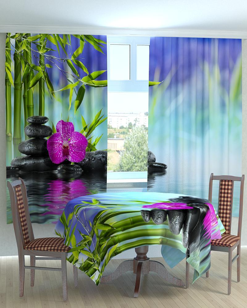 Фотошторы для кухні бамбук і орхідея