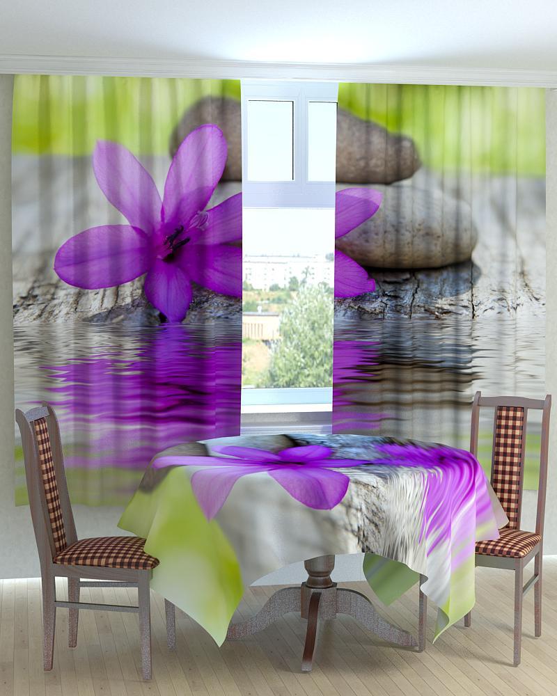 Фотошторы для кухні квітка і камені