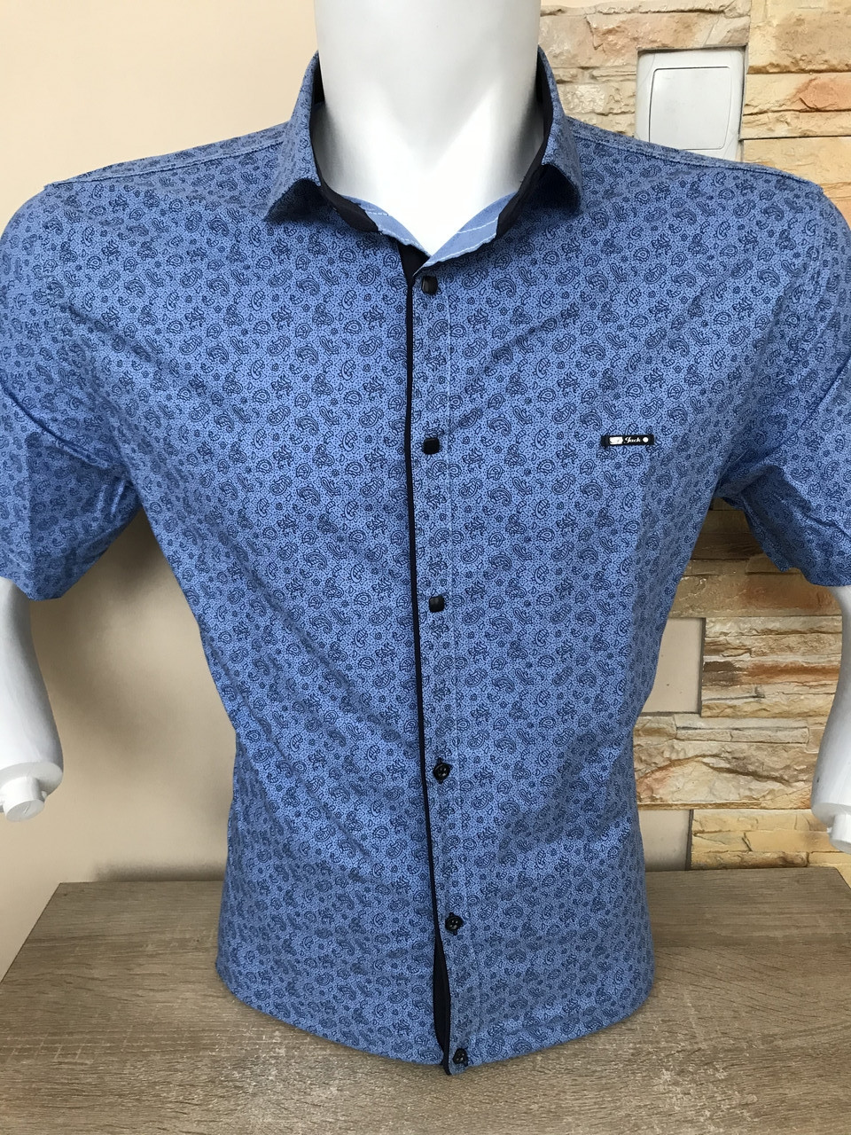 Приталена сорочка з коротким рукавом  Paul Jack з принтом