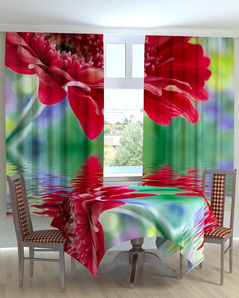 Фотошторы для кухні великий червоний квітка