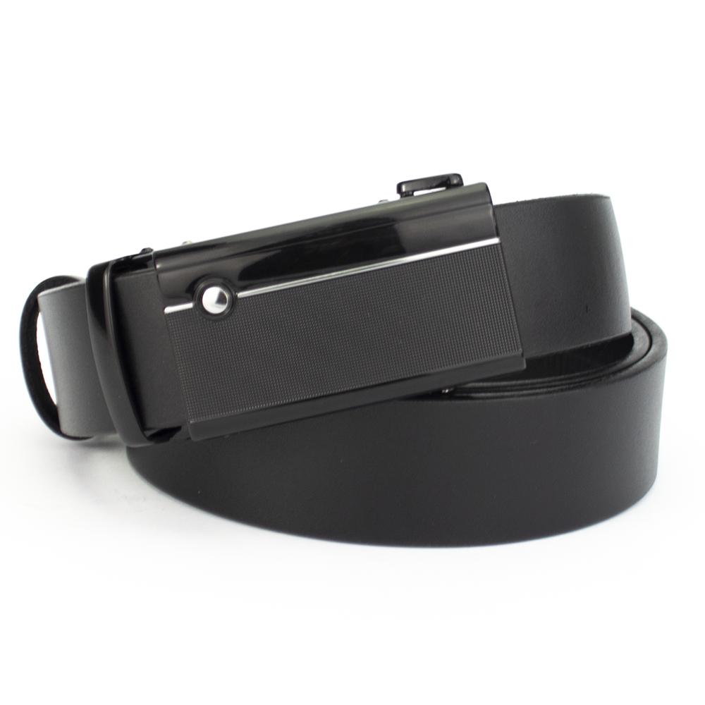 Ремень мужской кожаный на автомате черный KB-3512 black (130 см)