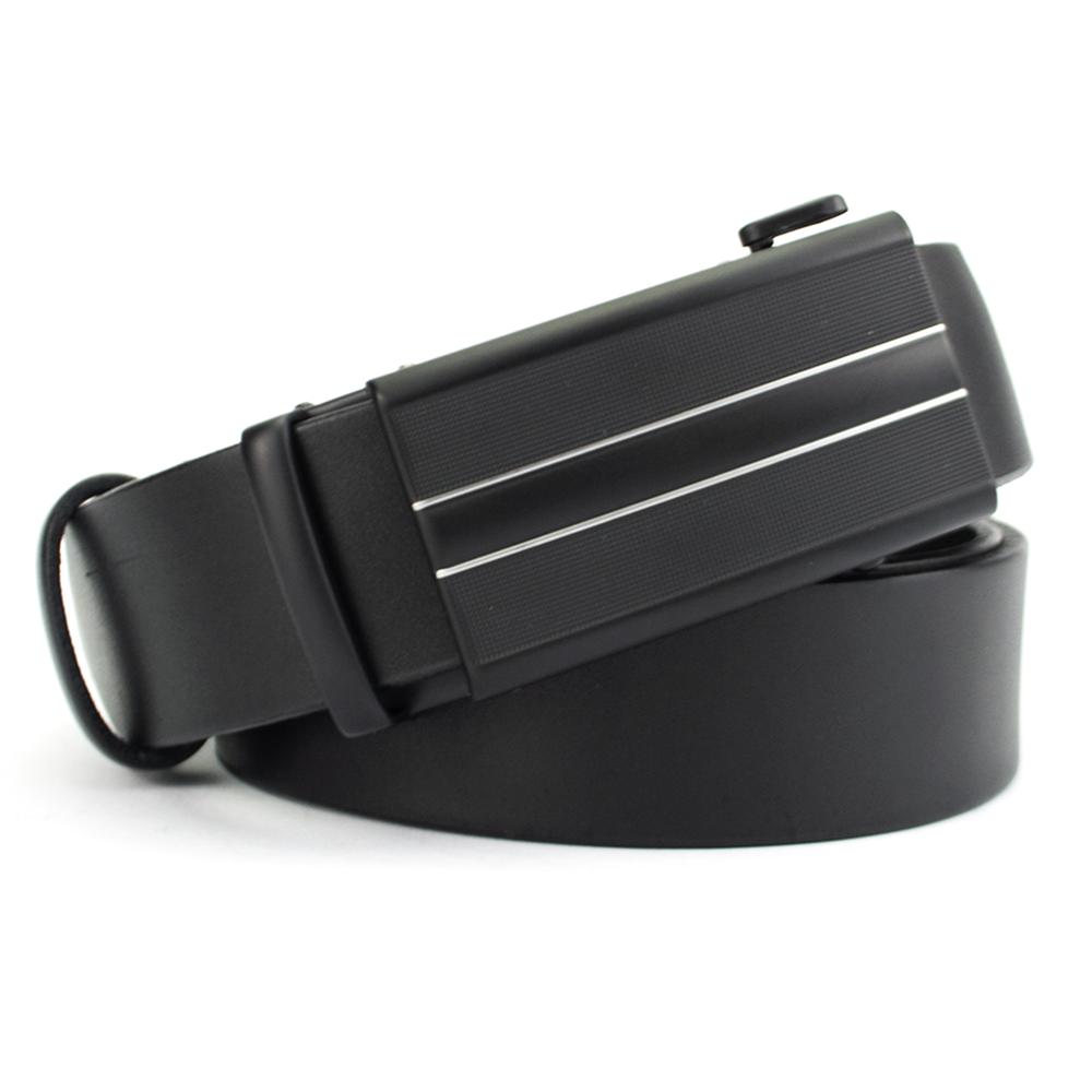 Ремень мужской кожаный на автомате черный KB-3513 black (130 см)