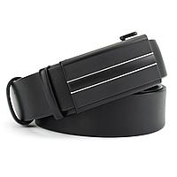 Ремень мужской кожаный на автомате черный KB-3513 black (130 см), фото 1