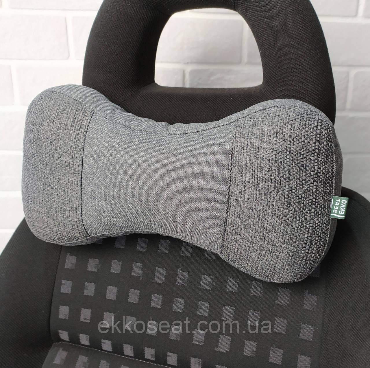 Подушка для шиї на підголовник EKKOSEAT в машину - трисекційна, Сіра, Чорна, Бежевий, Коричневий