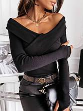 Кофта женская с открытыми плечами, черная, 46 размер (бюст до 100см), материал: мустанг