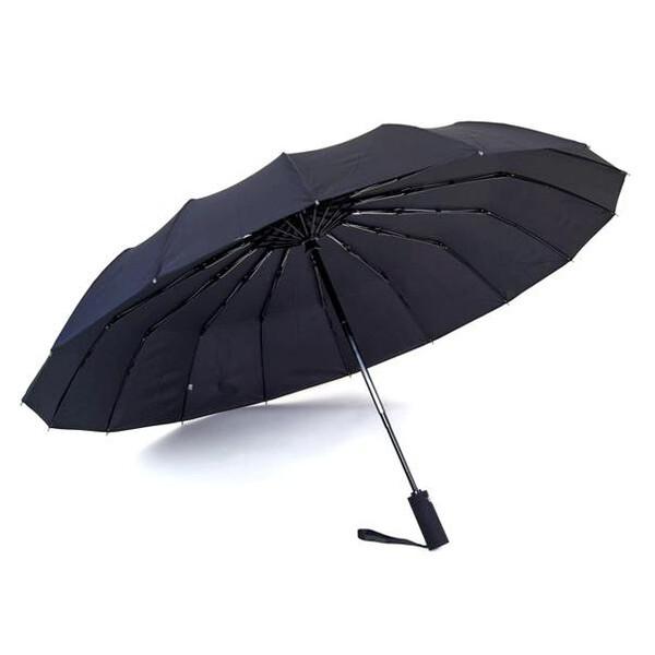 Зонт чоловічий 16 спиць складаний автомат з прямою ручкою міцний купол антиветер Чорний Max 00915
