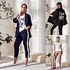 Р 48-54 Женский костюм тройка-пиджак, футболка и брюки Батал 23778