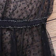 Пляжная короткая туника-платье в горох с оборками 42-46 р, фото 3
