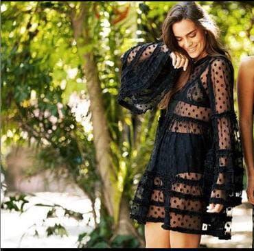 Пляжная короткая туника-платье в горох с оборками 42-46 р