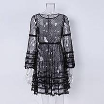 Пляжная короткая туника-платье в горох с оборками 42-46 р, фото 2