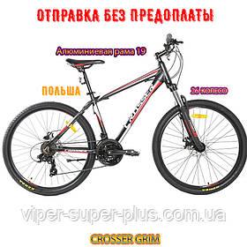 Гірський Велосипед CROSSER GRIM 26 дюймів 19 рама Чорно-Червоний Шимано Система Алюміній Сплав