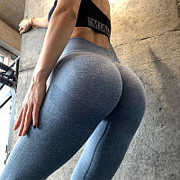 Женские лосины с эффектом пуш ап для Спорта, Йоги, Спортивная одежда для фитнеса, Серо-голубые, Размер L