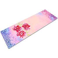 Коврик для йоги Замшевый каучуковый двухслойный 3мм Record FI-5662-26 (розовый, с цветочным принтом), фото 1
