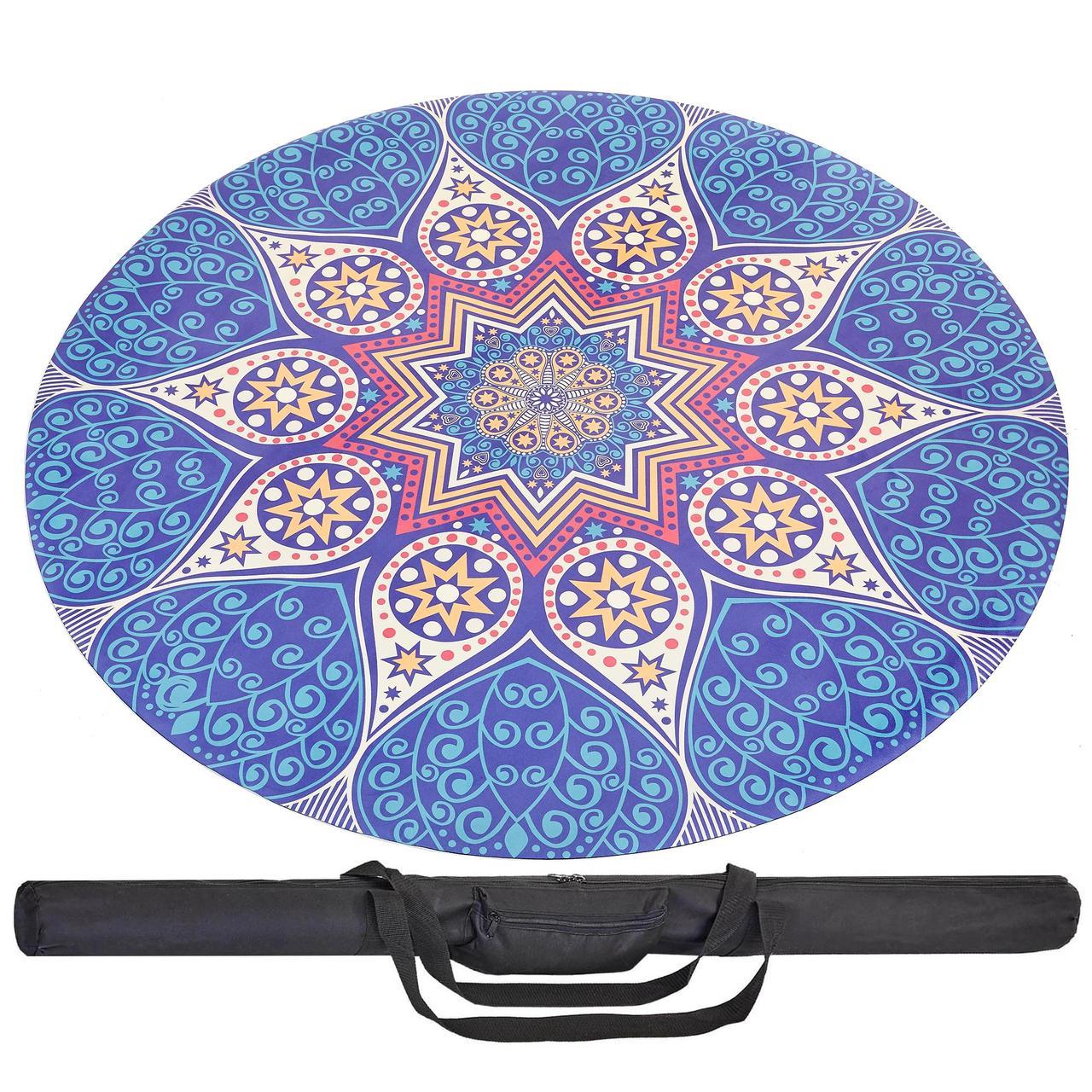 Коврик для йоги круглый Замшевый каучуковый 3мм Record FI-6218-2-C (синий-белый, с принтом Возрождение)