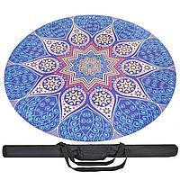 Коврик для йоги круглый Замшевый каучуковый 3мм Record FI-6218-2-C (синий-белый, с принтом Возрождение), фото 1