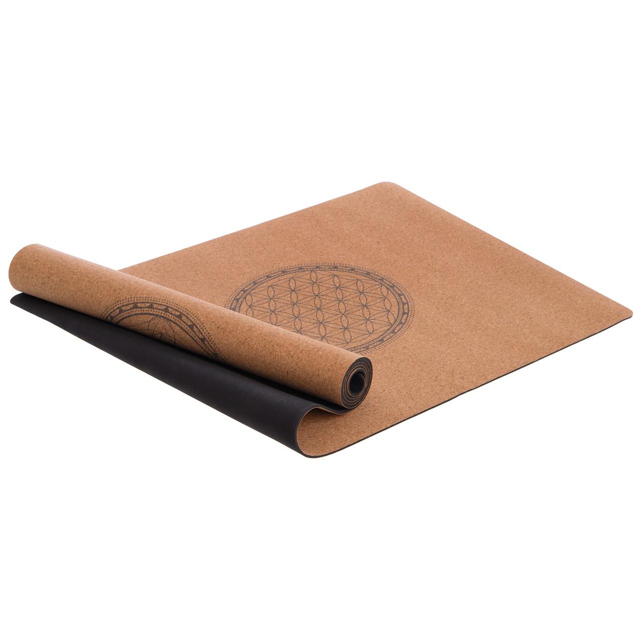 Килимок для йоги Корковий каучуковий двошаровий 4мм Record FI-7156-8 (каучук, з принтом Мандала, рудий)