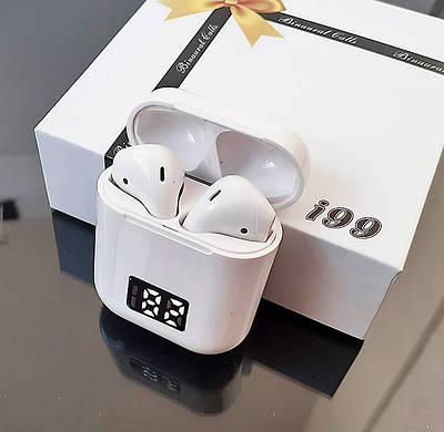 Беспроводные Bluetooth наушники i99 D с LED дисплеем Белые