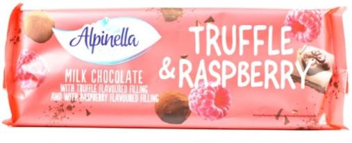 Шоколад молочний Alpinella Truffle Rasberry з малиною і трюфелем 270 грам
