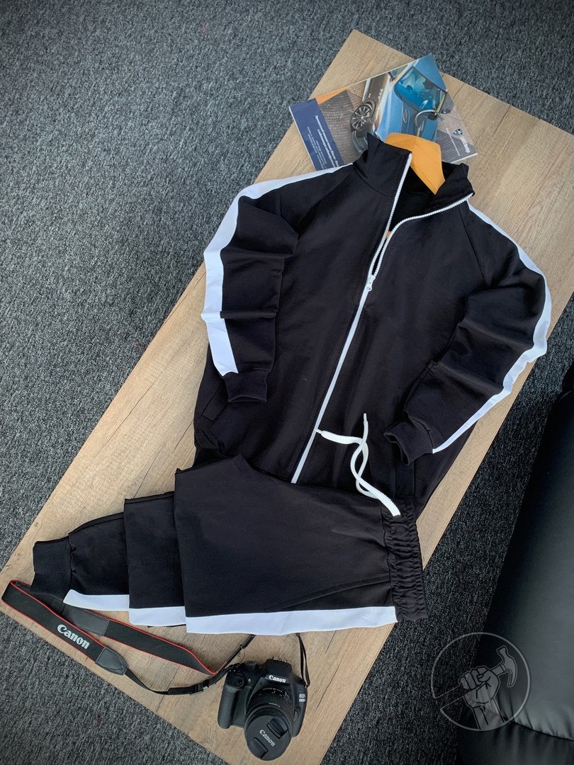 Мужской спортивный костюм черный без капюшона, кофта и штаны, стильный костюм на весну, Турция