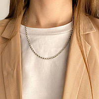 Женская цепочка жгут крученого плетения серебристая колье ожерелье