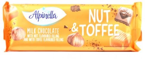 Шоколад молочний Alpinella Nut Toffee з лісовим горіхом і ірисом 270 грам