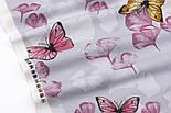 """Лоскут фланели """"Большие бабочки и лепестки"""" жёлто-розовые на сером, размер 75*103 см, фото 3"""