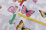 """Лоскут фланели """"Большие бабочки и лепестки"""" жёлто-розовые на сером, размер 75*103 см, фото 4"""