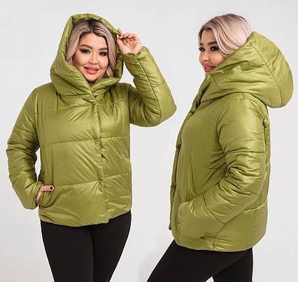 """Демисезонная женская куртка в больших размерах 1261 """"Плащёвка Капюшон"""" в расцветках"""