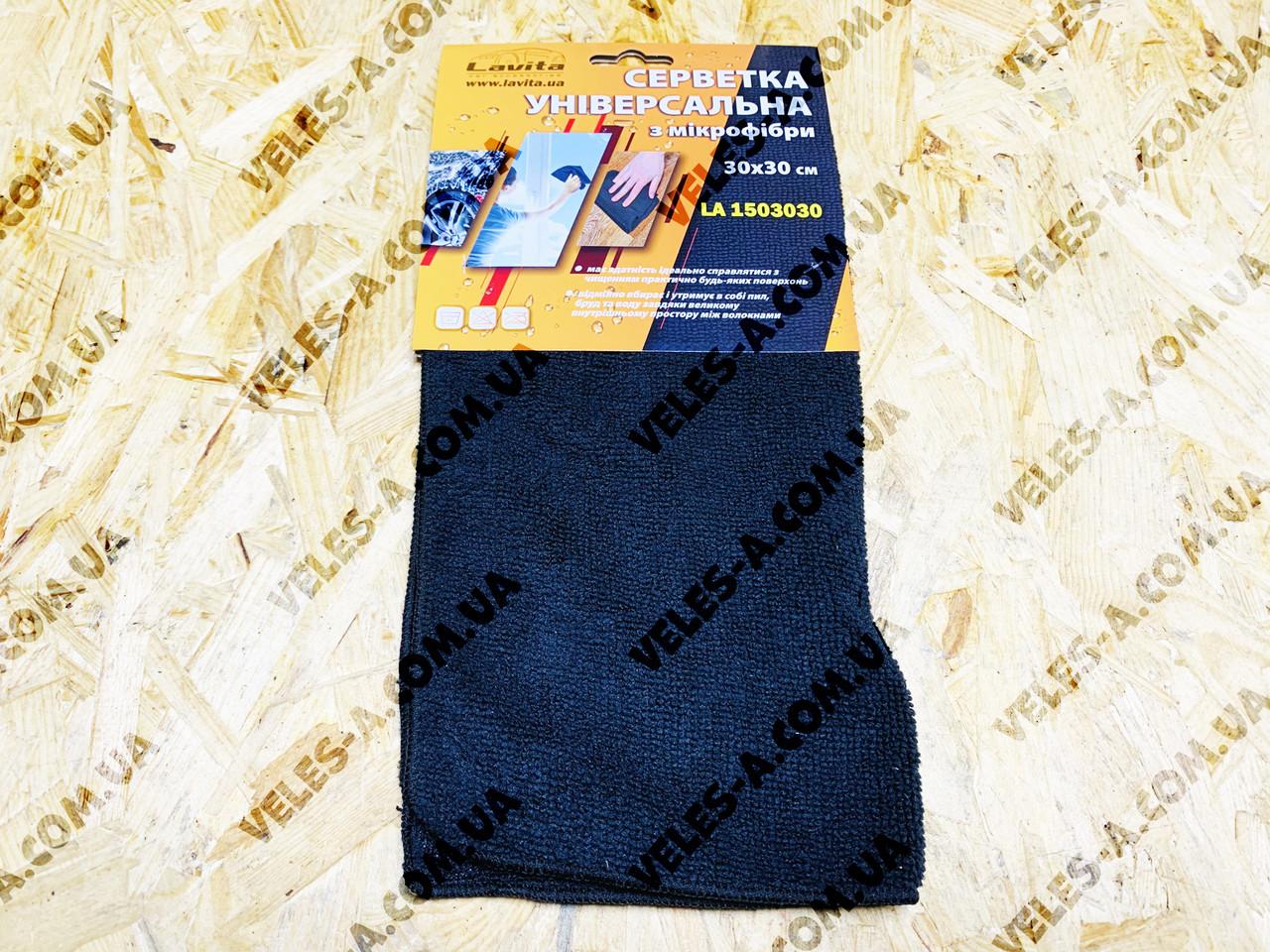 Салфетка автомобильная (микрофибра) черная LAVITA