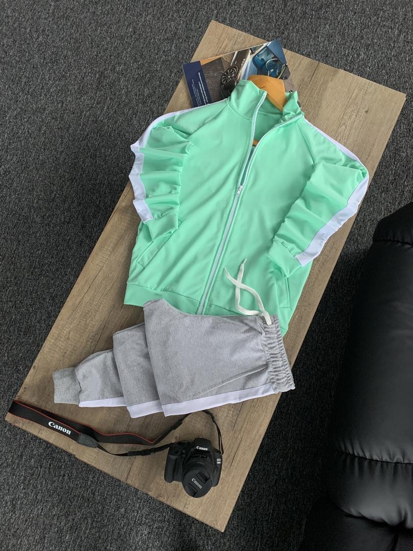 Мужской спортивный костюм серо-мятный без капюшона, кофта и штаны, стильный костюм на весну, Турция