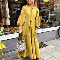 Длиное бохо платье желтое, охра, жатка батист впол ХС-10ХХЛ