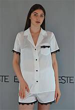 Белая шелковая пижама с кружевом рубашка+шорты Este 504.