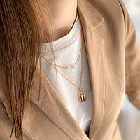 Многослойное ожерелье - цвет золото