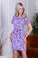 Приталене короткий жіноче плаття на літо з квітковим принтом р-ри 44-48 арт. 3373