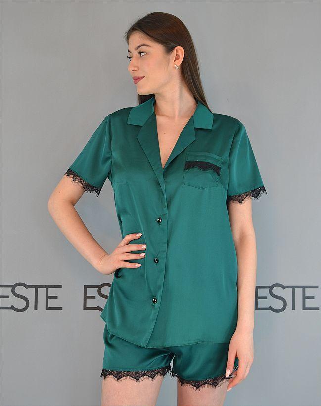 Смарагдова шовкова піжама з мереживом сорочка+шорти Este 504.