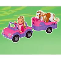 Кукла Еви в джипе с прицепом и лошадкой Evi Love (573 7460)