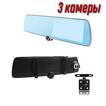 Автомобільний відеореєстратор дзеркало дисплей DVR 1030 Авто реєстратор з 3 камерами в машину Full HD 1080p, фото 2