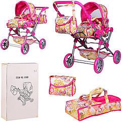 Коляска для ляльок з люлькою +корзина + сумочка. Метал, дитяча коляска лялькова