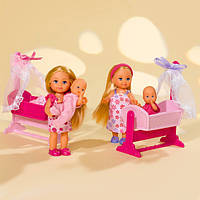 Кукольный набор Еви с малышом в кроватке Steffi Love в ассортименте 2 вида (573 6242)