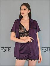 Шелковая пижама тройка Este рубашка шорты и кружевной топ 504-1 фиолетовая.