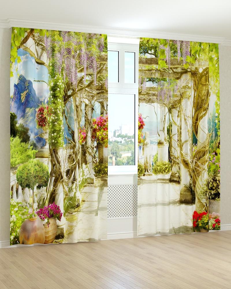 Фотошторы фрески стежка з квітів