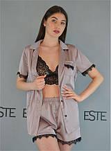 Пижама женская шелковая 3 в 1 Este рубашка шорты и кружевной топ 504-1 бежевый.