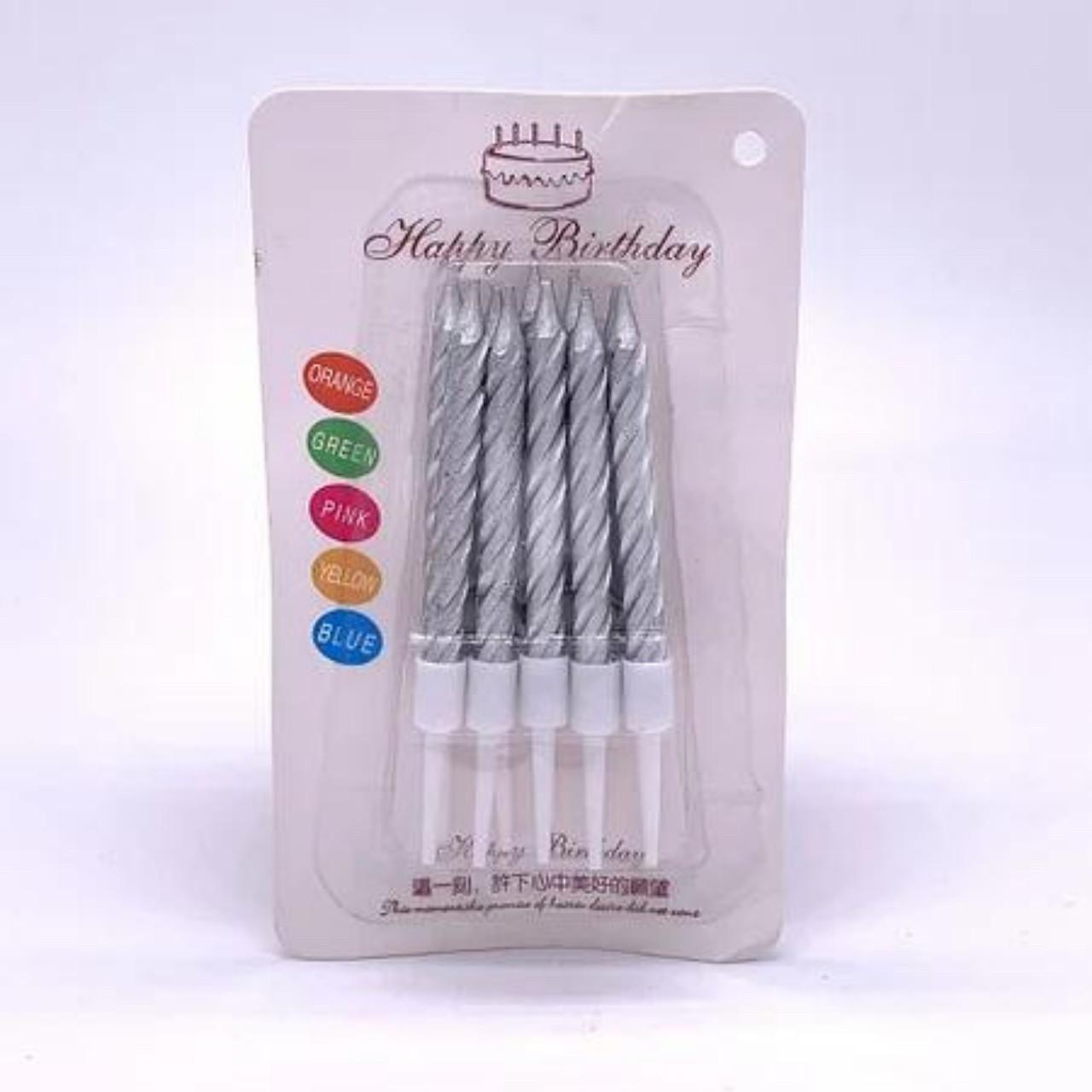"Свечи на торт ""Спираль"" 7,5 см (10 шт.) серебро"
